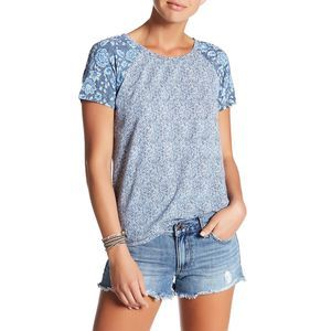 Lucky Brand Placement Floral Shoer Sleeve Top Boho